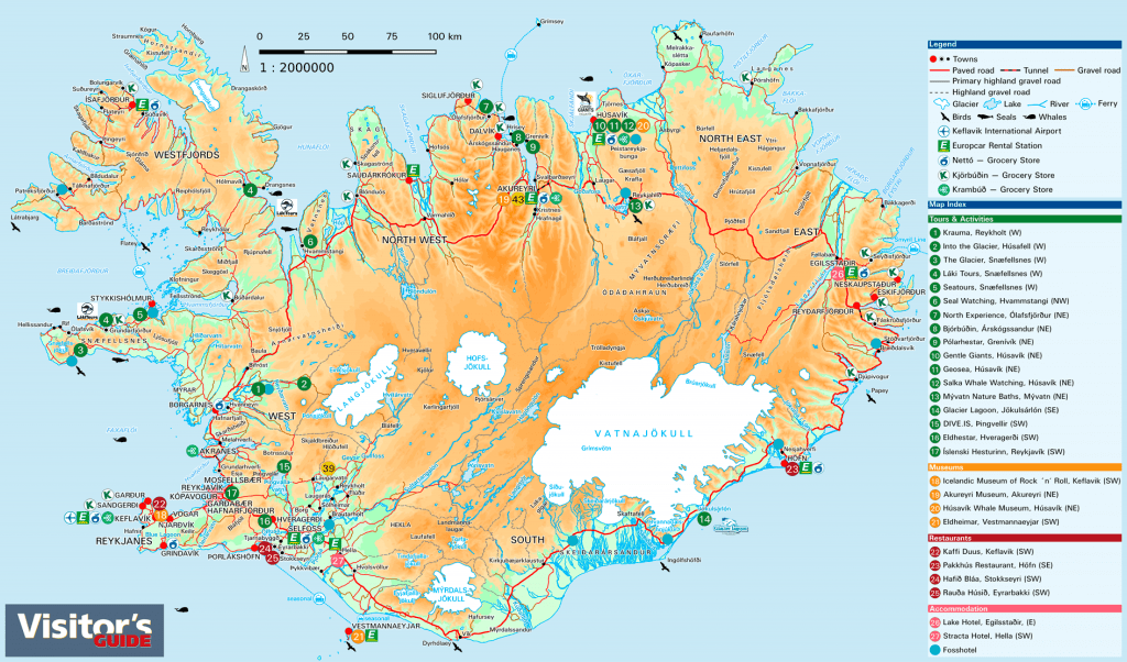 map Iceland 1:2000000 2019