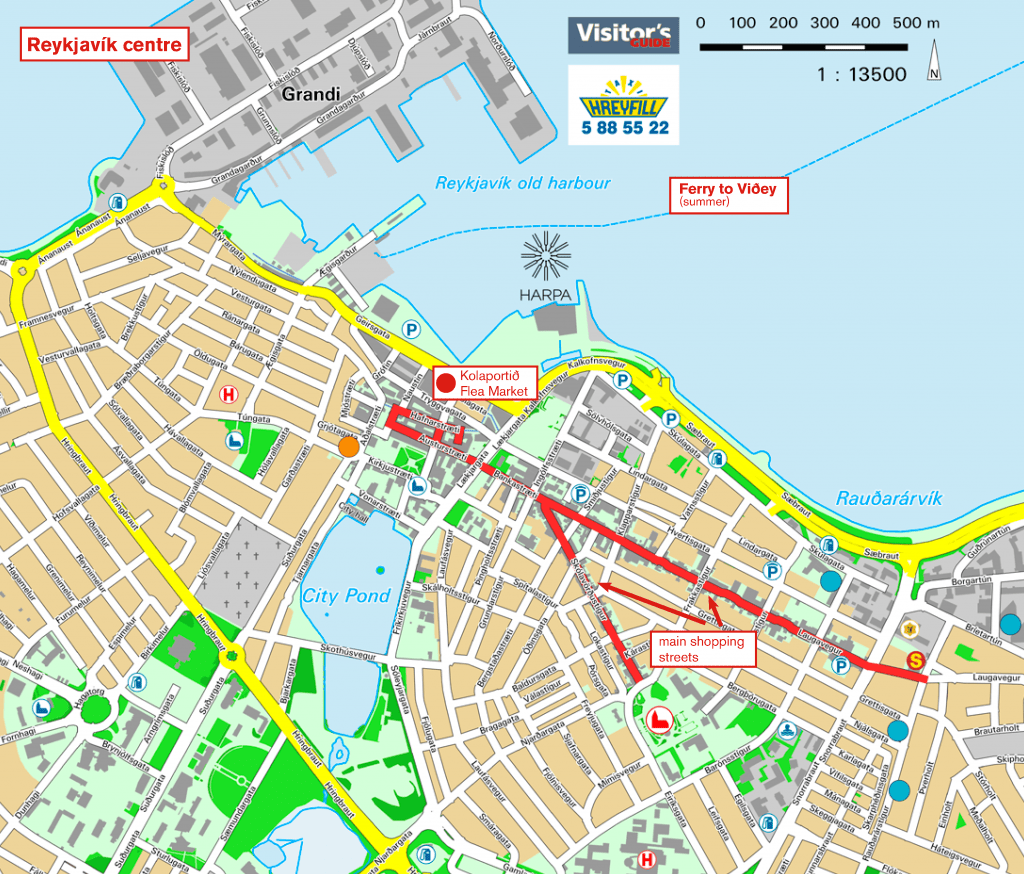 map Reykjavik downtown